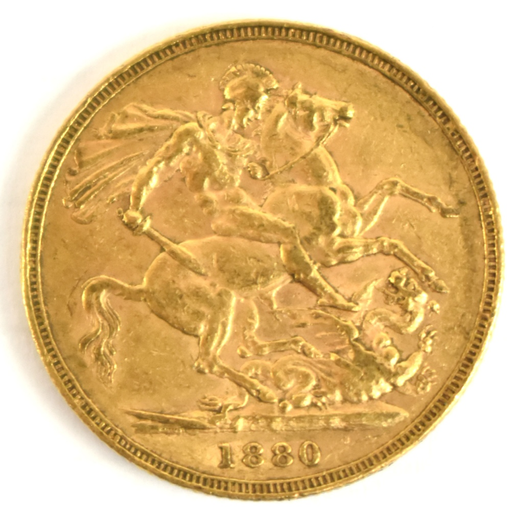 Lot 2014D - A Victorian Young Head full sovereign, 1880.