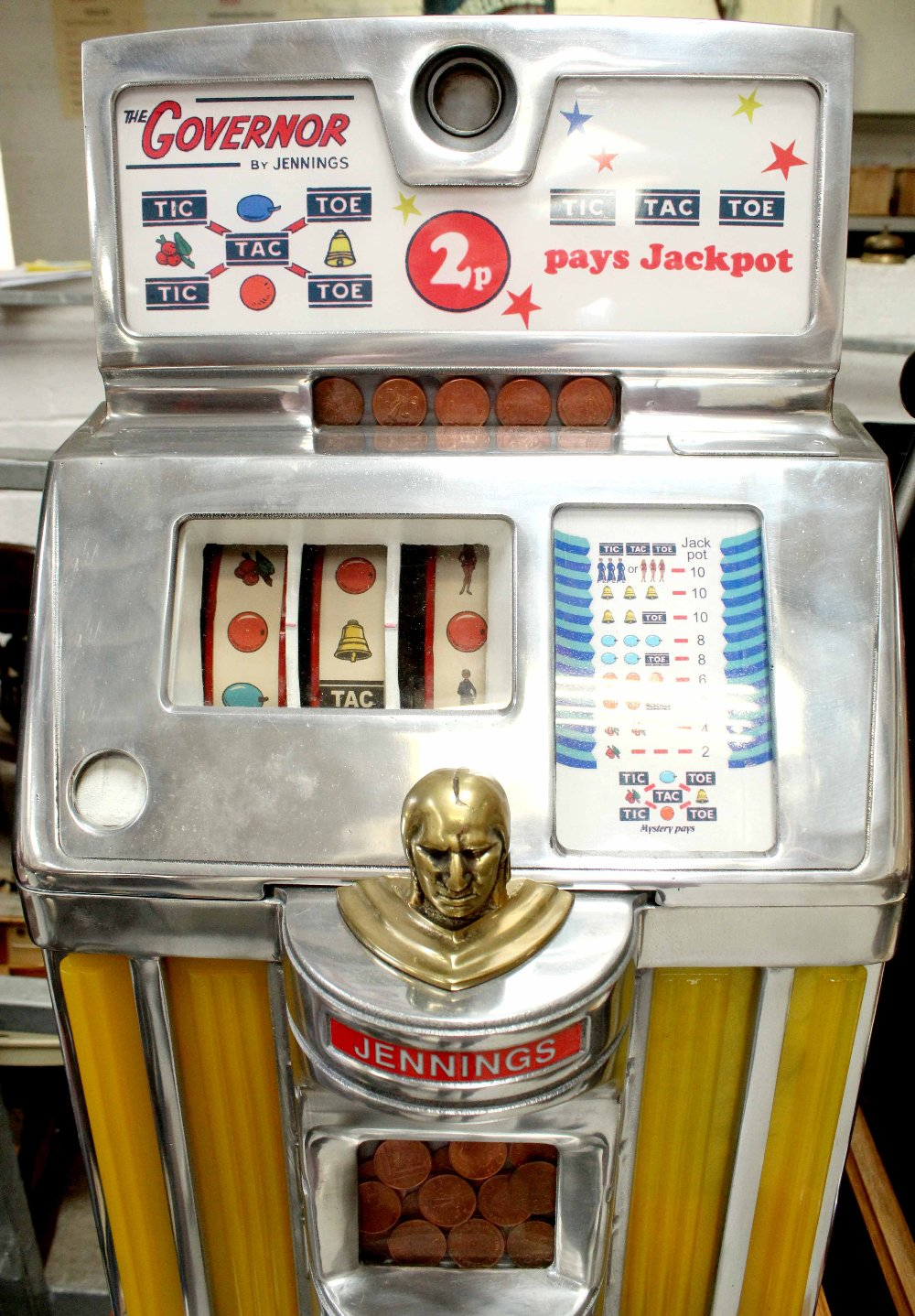 The 'Governor' by Jennings 2p slot machine with Native American finial to front, on later stand, - Image 3 of 3