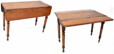A 19th century mahogany Pembroke table on turned tapering legs to castors, height 75cm, width 104cm.