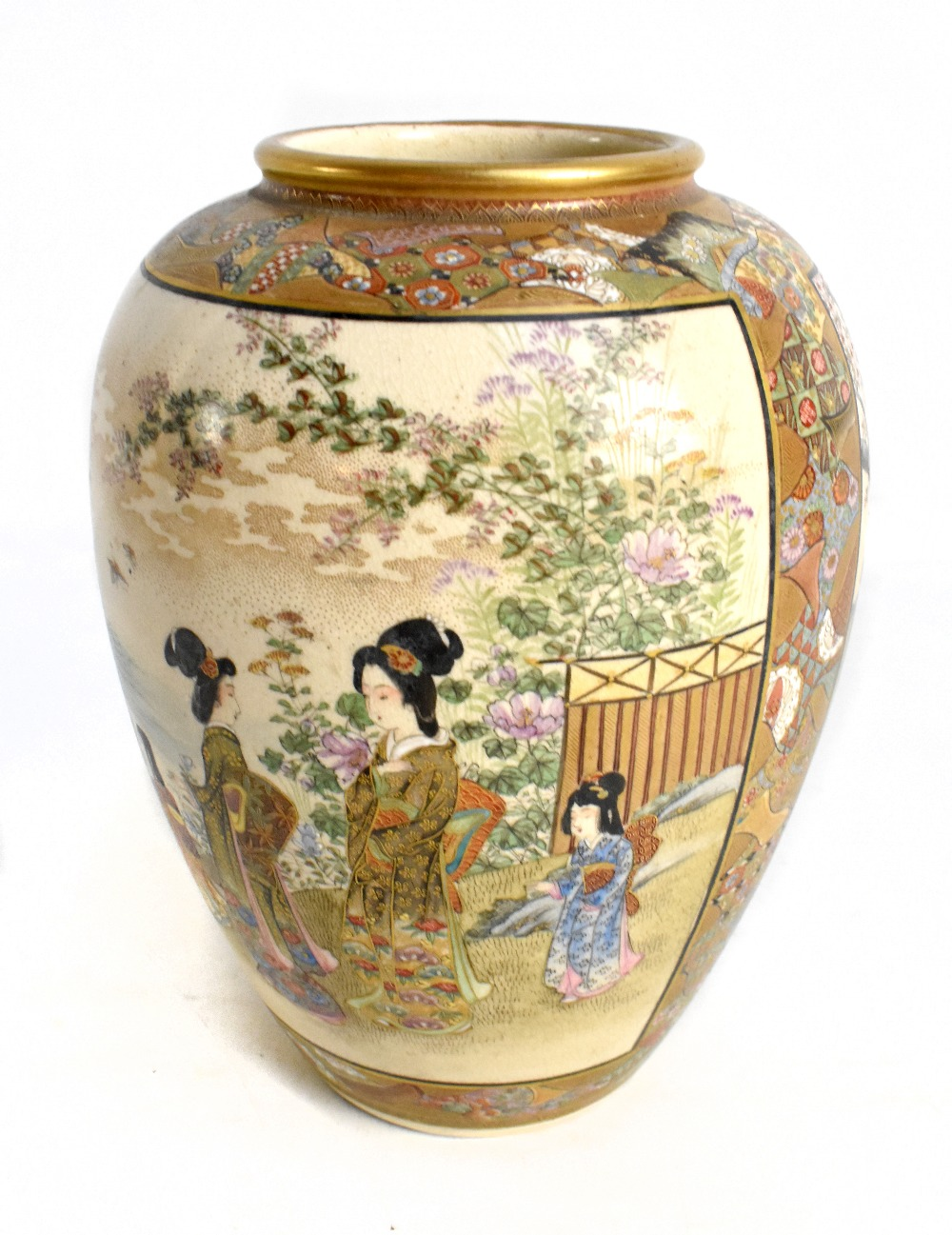 A Japanese Satsuma vase of globular form painted with geishas inside floral panels, signed to