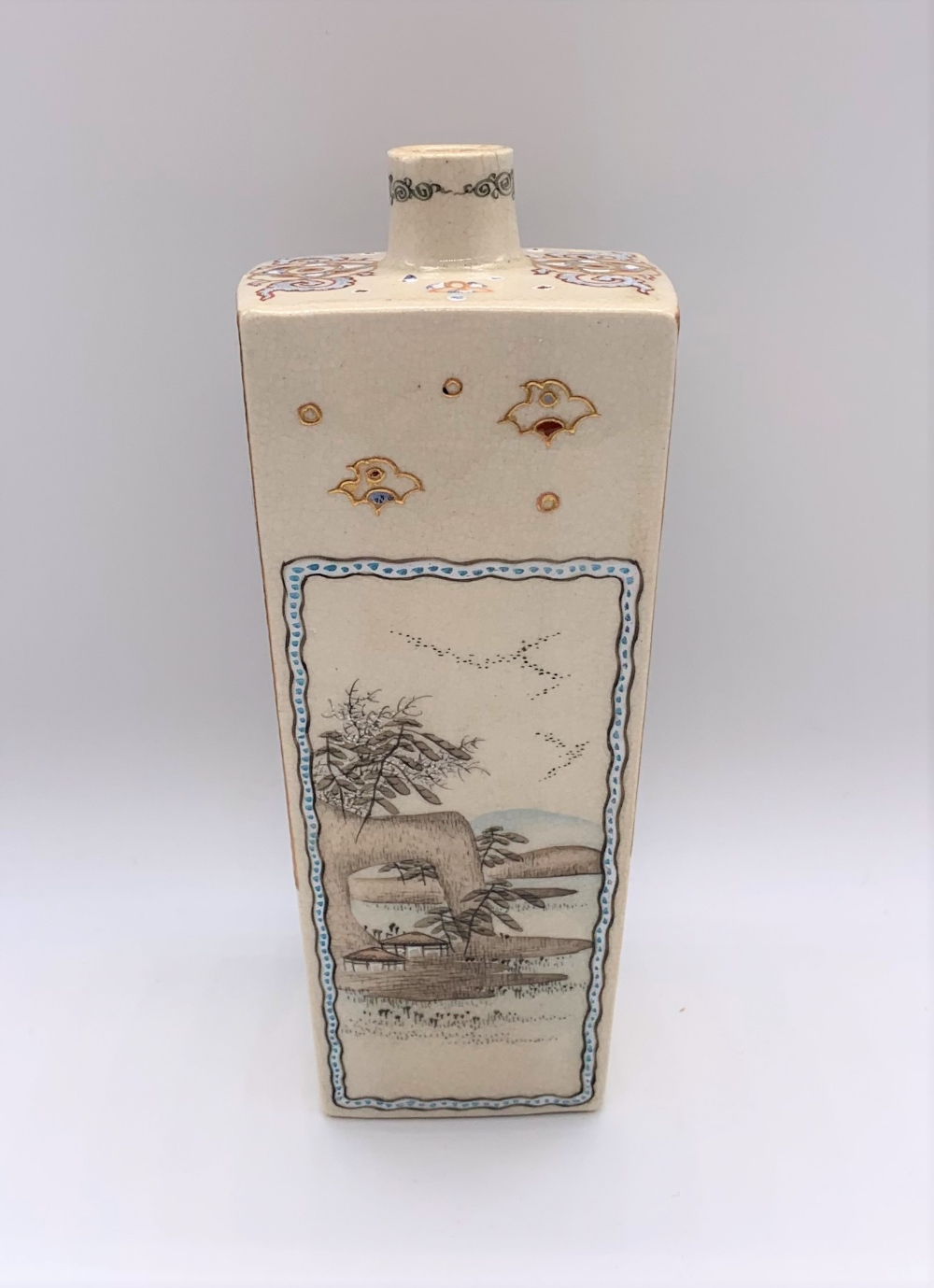 A Japanese Meiji period Satsuma tapering square section vase decorated with figures, butterflies, - Image 2 of 8