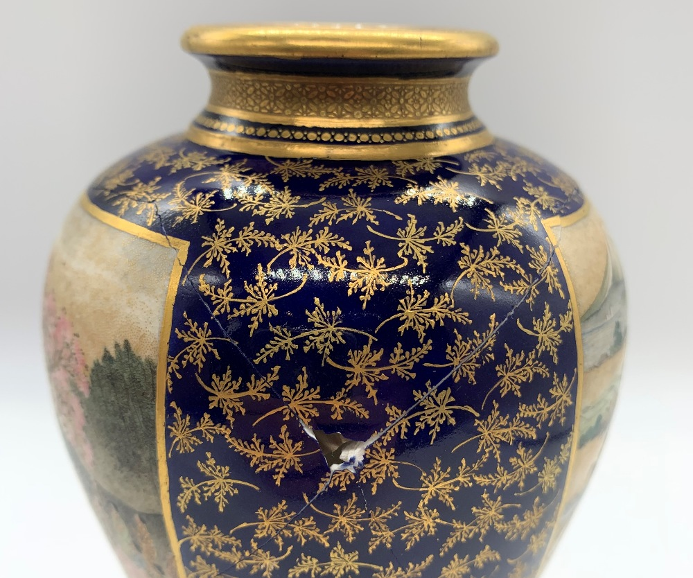 KEIZAN FOR KINKOZAN; a Japanese Meiji period Satsuma vase decorated with twin landscape panels - Image 5 of 7