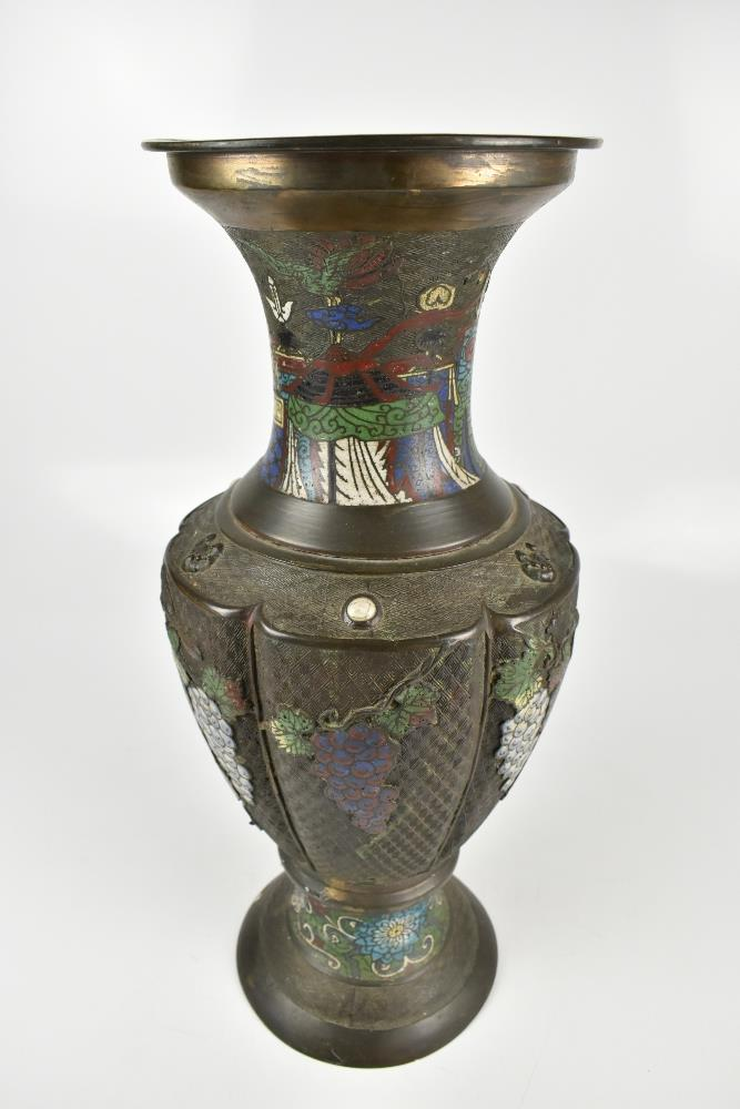 A large Japanese bronze vase with enamelled and relief floral and grape decoration and taotie - Image 3 of 6