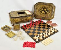 A good mid to late 19th century Chinese Canton Export lacquer and gilt decorated games compendium