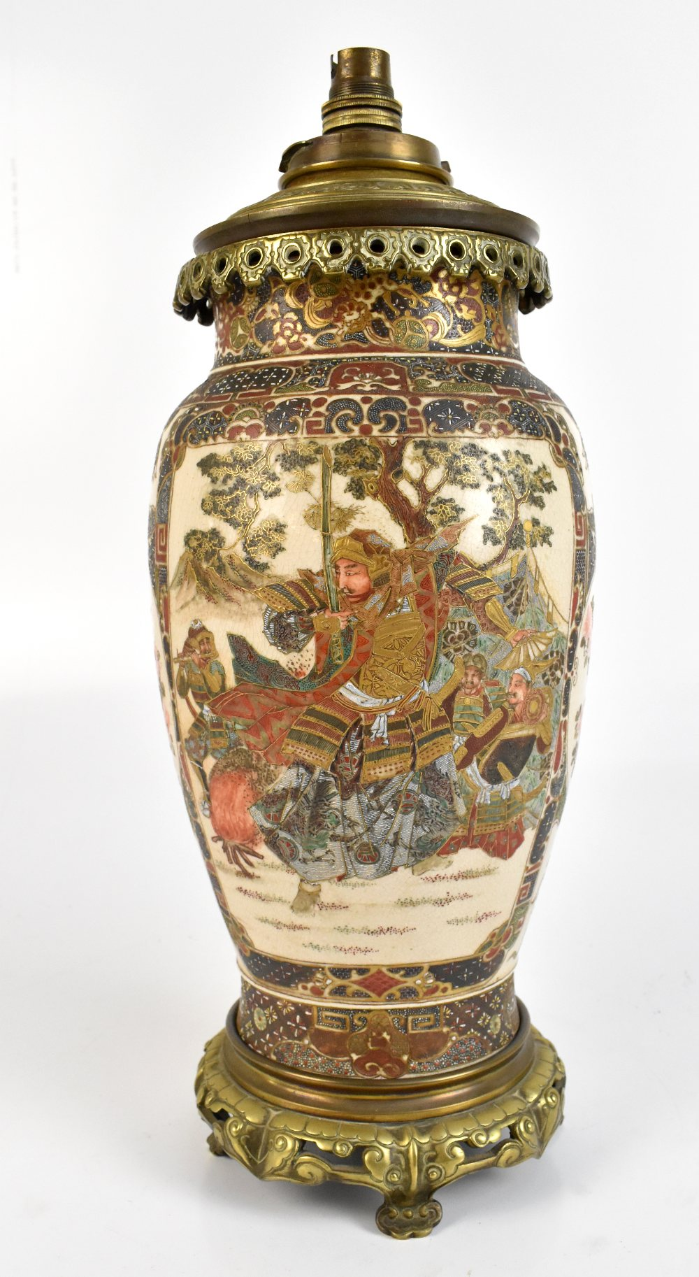An early 20th century Japanese Satsuma oil lamp with brass mount, painted with birds and flowers, - Image 2 of 2