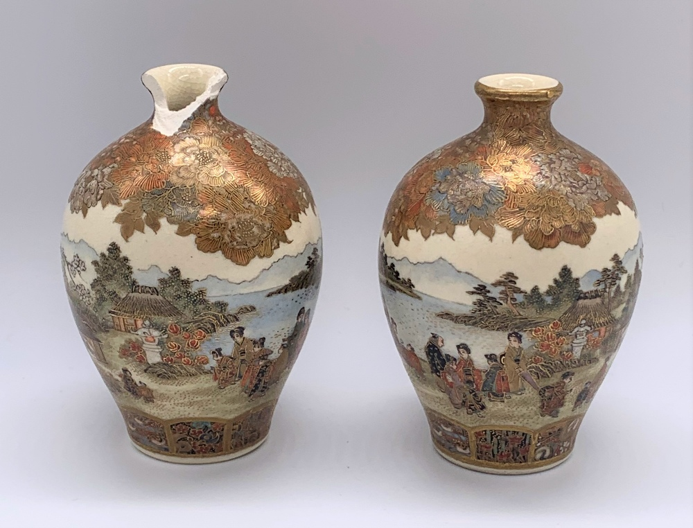 A pair of miniature Japanese Meiji period Satsuma vases decorated with continuous landscapes, both - Image 3 of 9