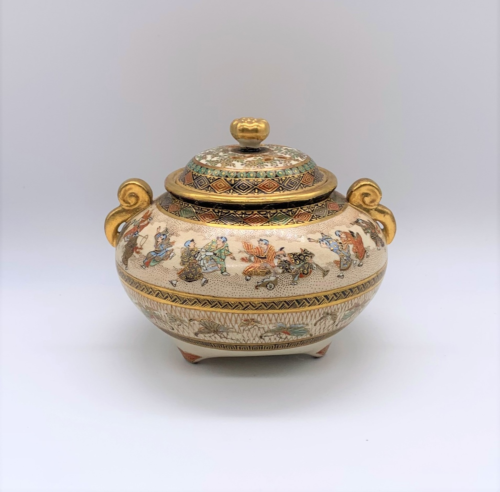 A Japanese Meiji period Satsuma koro of circular form with pierced cover above twin moulded gilt - Image 3 of 10