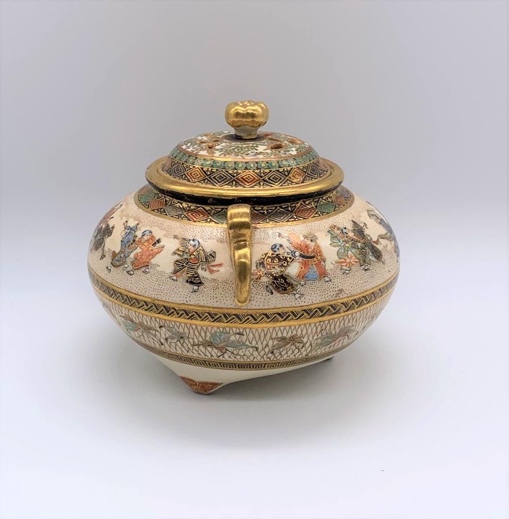 A Japanese Meiji period Satsuma koro of circular form with pierced cover above twin moulded gilt - Image 4 of 10