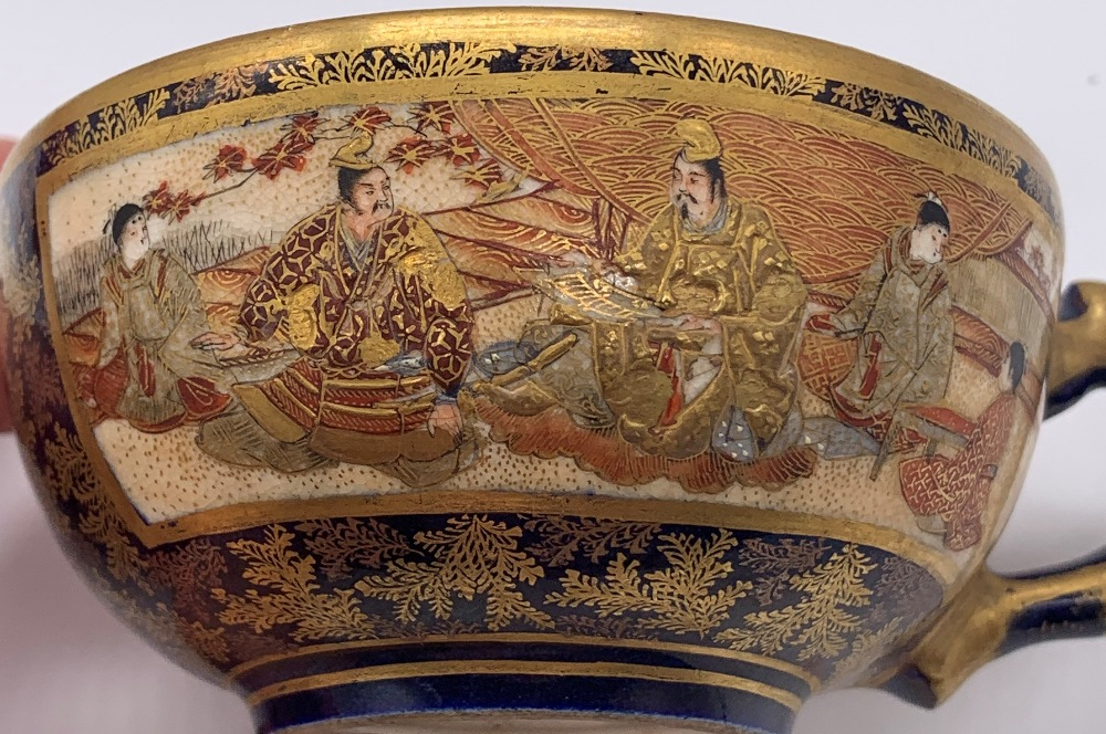 KINKOZAN; a Japanese Meiji period Satsuma cup and saucer decorated with panels of seated figures - Image 5 of 9