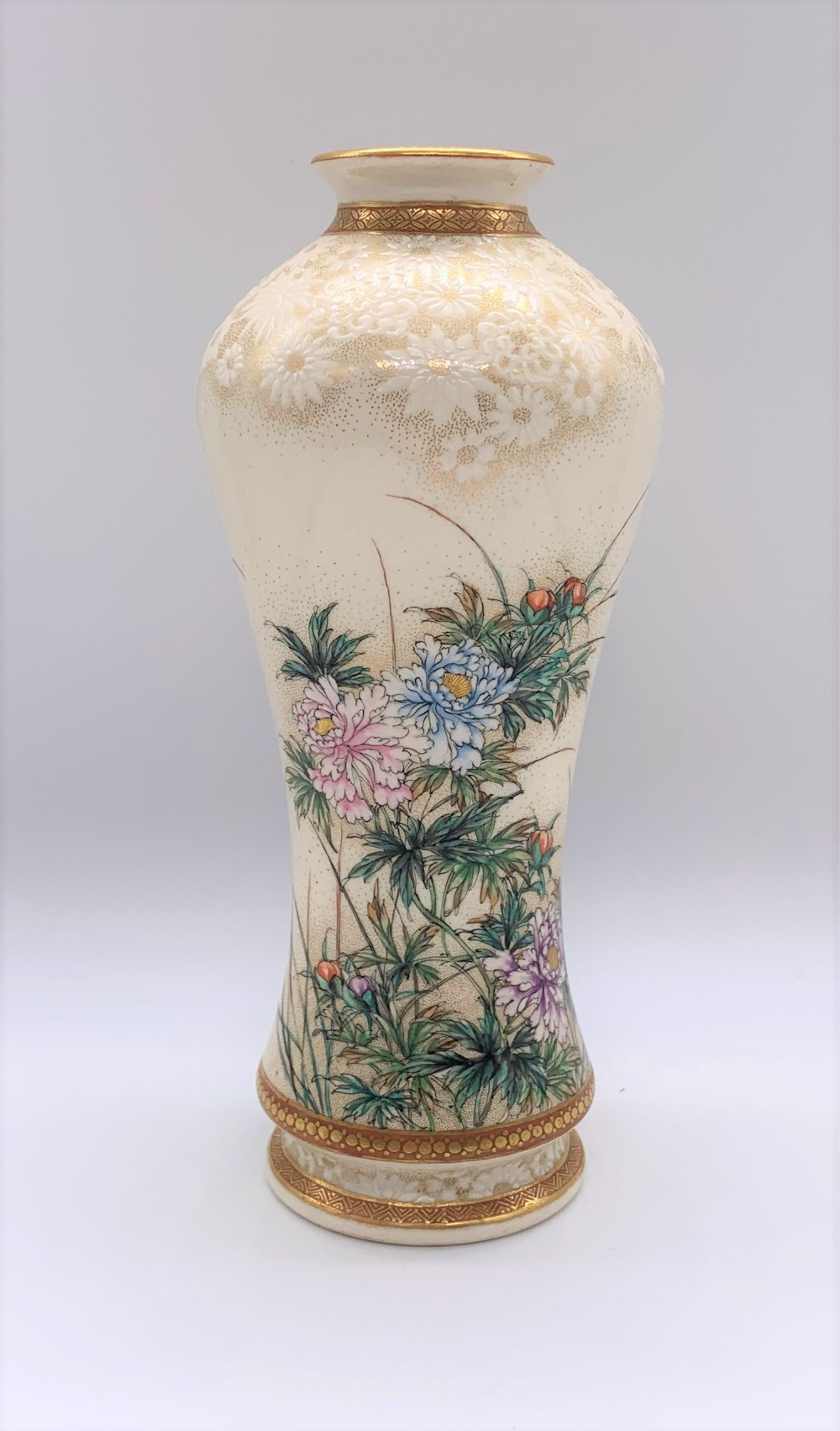 KINKOZAN; a good Japanese Meiji period Satsuma vase of waisted form decorated with butterflies - Image 3 of 7