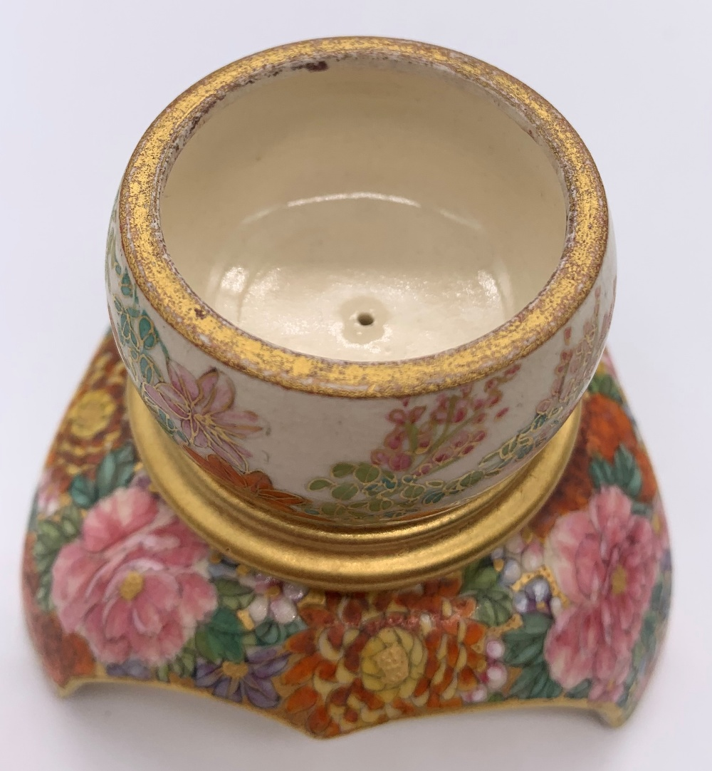 An unusual Japanese Meiji period Satsuma koro in the form of a finial with pierced upper bowl - Image 6 of 8