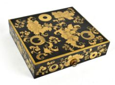 A good Japanese Meiji period rectangular lacquered box with gilt floral and scroll decoration,