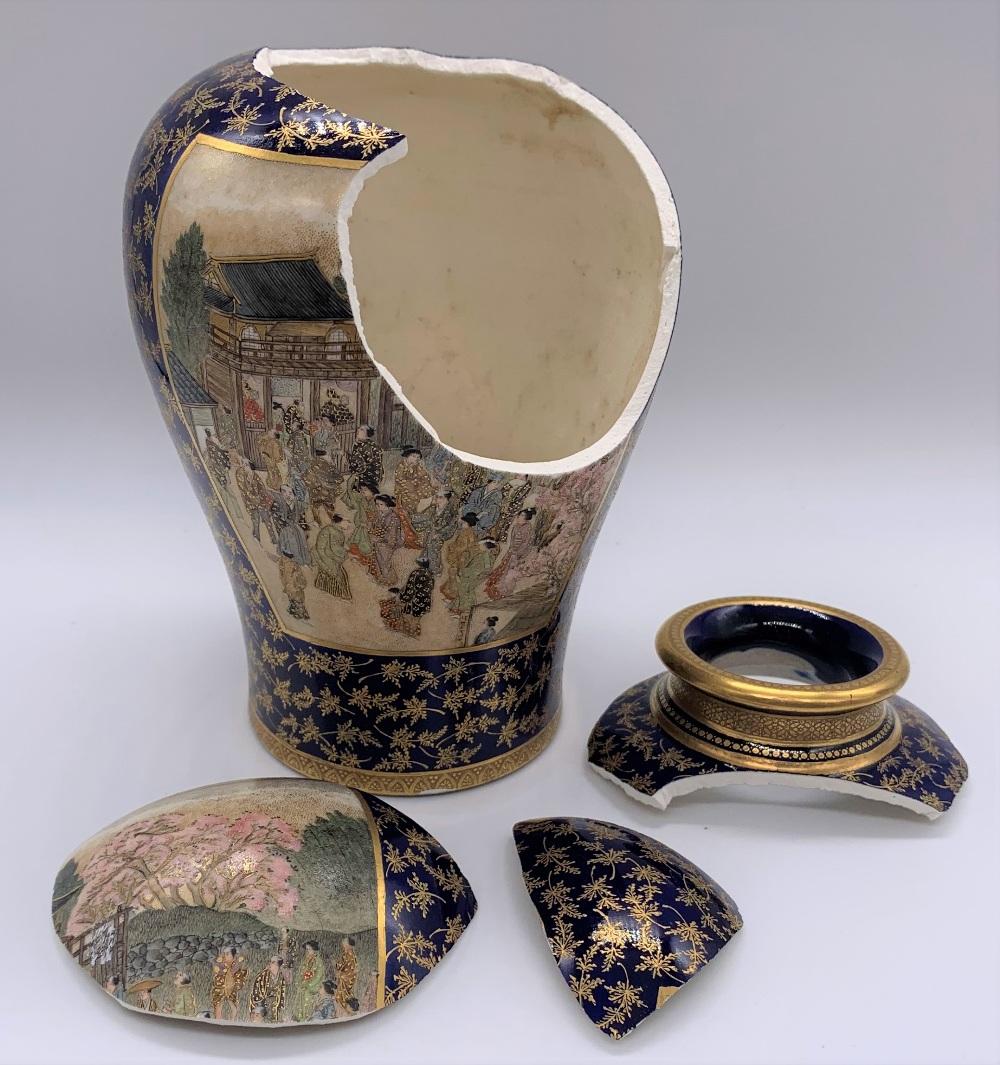 KEIZAN FOR KINKOZAN; a Japanese Meiji period Satsuma vase decorated with twin landscape panels - Image 7 of 7