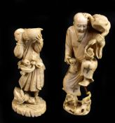 A Japanese Meiji period carved ivory okimono modelled as a warrior blowing into a conch shell with a