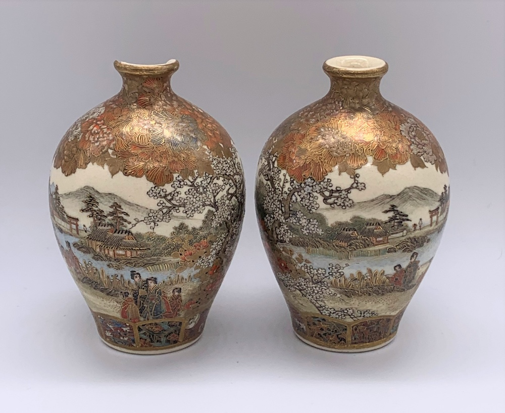 A pair of miniature Japanese Meiji period Satsuma vases decorated with continuous landscapes, both - Image 9 of 9