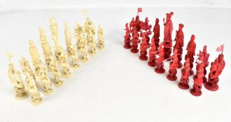 A good mid-19th century Chinese Canton carved and stained ivory chess set made for the French