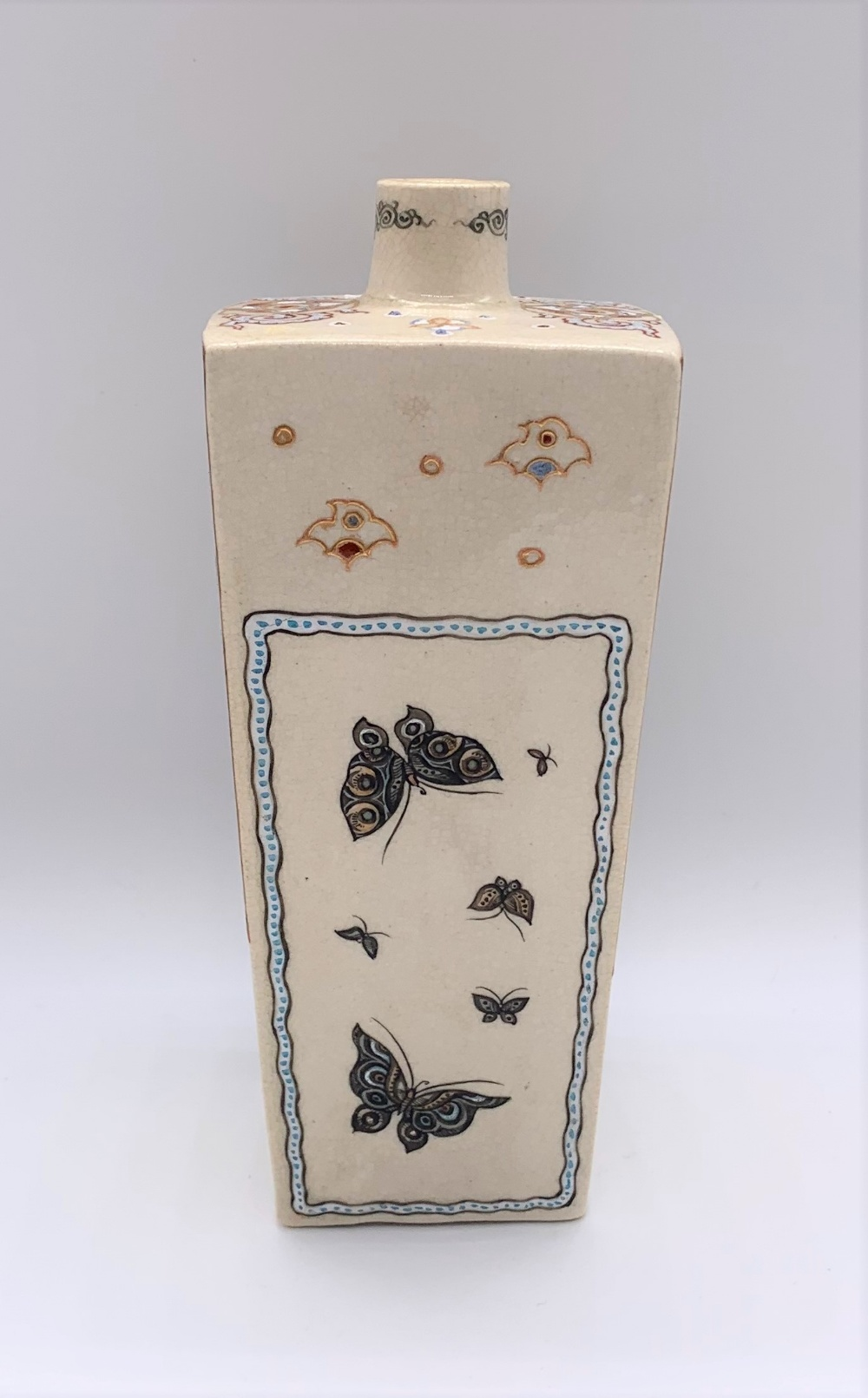 A Japanese Meiji period Satsuma tapering square section vase decorated with figures, butterflies, - Image 4 of 8
