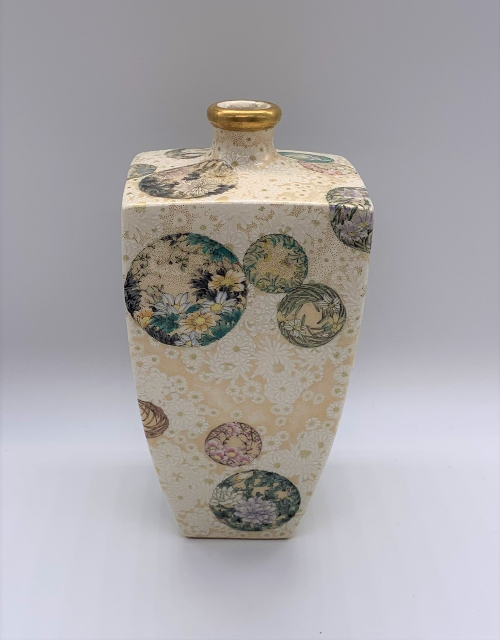 ATTRIBUTED TO KINKOZAN; a Japanese Meiji period Satsuma square sectioned vase decorated with - Image 3 of 8