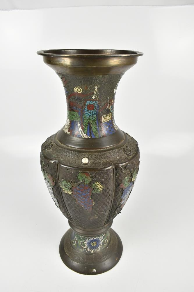 A large Japanese bronze vase with enamelled and relief floral and grape decoration and taotie - Image 2 of 6