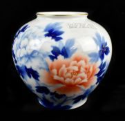 FUKAGAWA; a Japanese Arita porcelain vase with transferred and gilt heightened floral decoration,