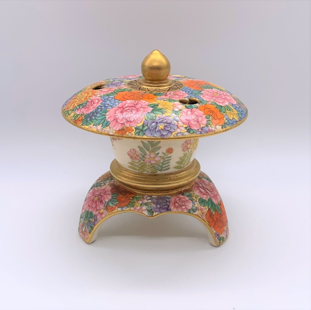An unusual Japanese Meiji period Satsuma koro in the form of a finial with pierced upper bowl