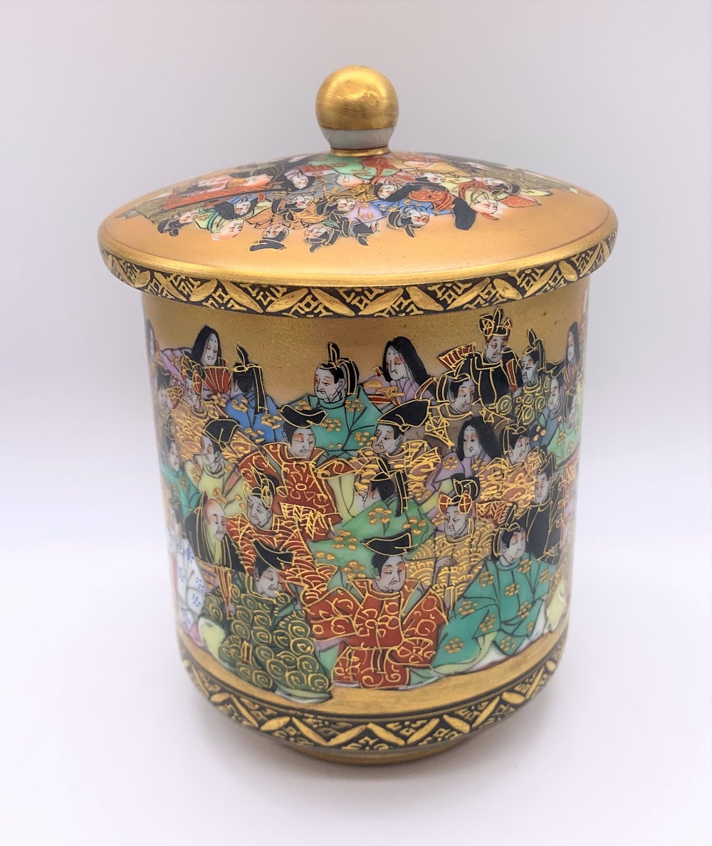 An unusual Japanese Meiji period Satsuma porcelain pot and cover painted with a band of figures, - Image 3 of 10