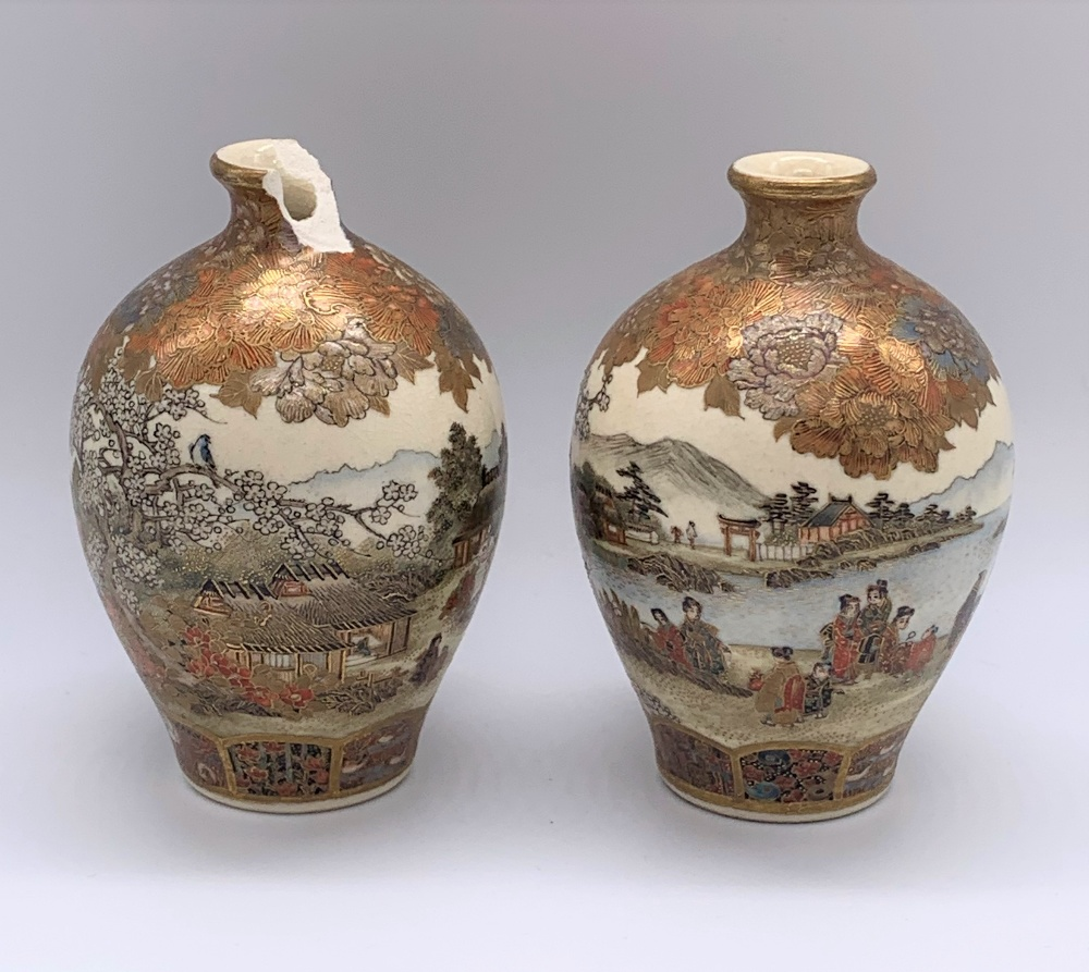 A pair of miniature Japanese Meiji period Satsuma vases decorated with continuous landscapes, both - Image 2 of 9