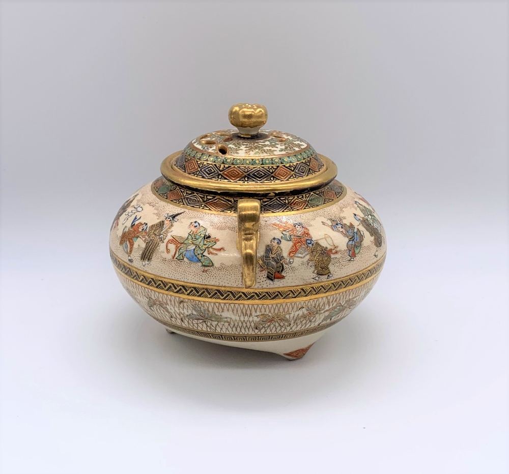 A Japanese Meiji period Satsuma koro of circular form with pierced cover above twin moulded gilt - Image 2 of 10