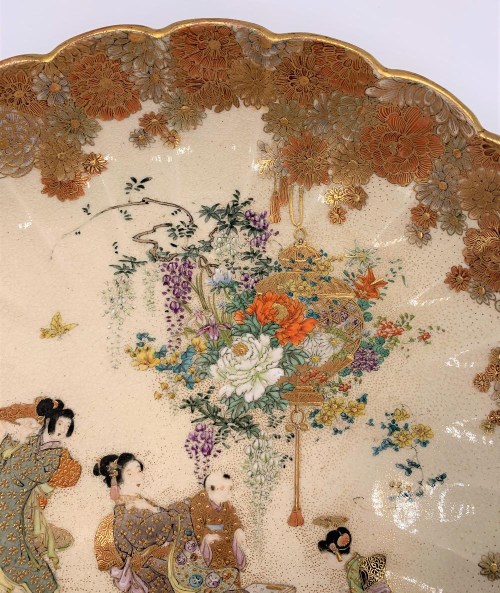 RYUN FUZAN; a good Japanese Meiji period Satsuma dish with scallop moulded floral decorated border - Image 2 of 6