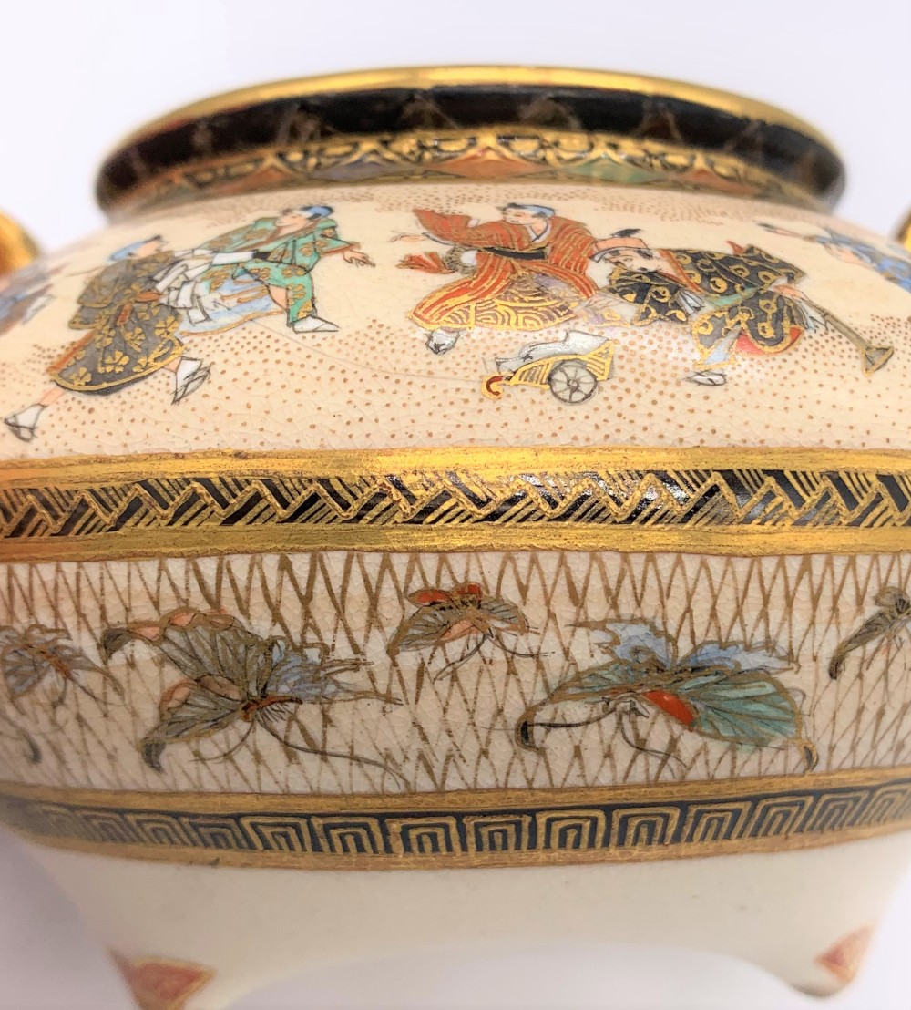 A Japanese Meiji period Satsuma koro of circular form with pierced cover above twin moulded gilt - Image 8 of 10