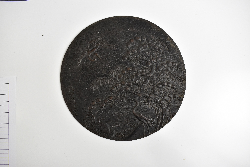 A good and large Japanese Meiji period bronze jardinière and stand cast in one, profusely - Image 2 of 2