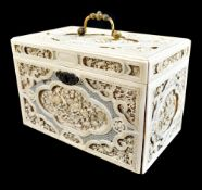 An exceptional early 19th century Chinese Canton carved ivory casket with English hallmarked