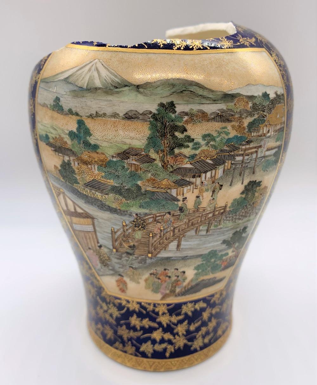 KEIZAN FOR KINKOZAN; a Japanese Meiji period Satsuma vase decorated with twin landscape panels - Image 2 of 7
