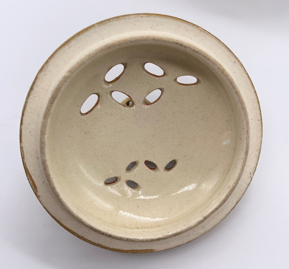 A Japanese Meiji period Satsuma koro of circular form with pierced cover above twin moulded gilt - Image 7 of 10