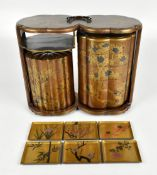 A good Japanese Meiji period lacquered and profusely gilt detailed sagejubako or picnic set of lobed