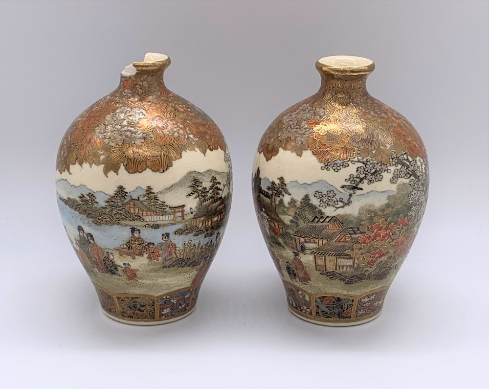 A pair of miniature Japanese Meiji period Satsuma vases decorated with continuous landscapes, both - Image 4 of 9
