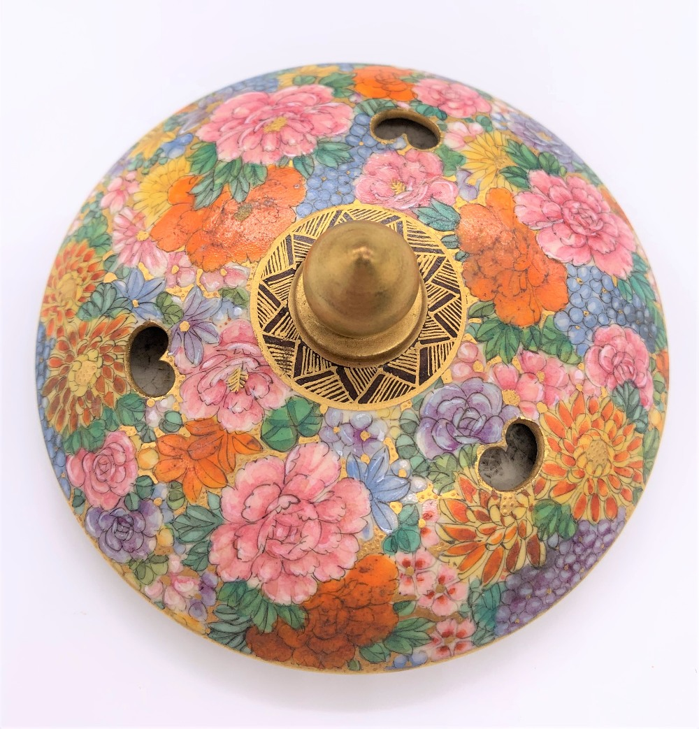 An unusual Japanese Meiji period Satsuma koro in the form of a finial with pierced upper bowl - Image 4 of 8