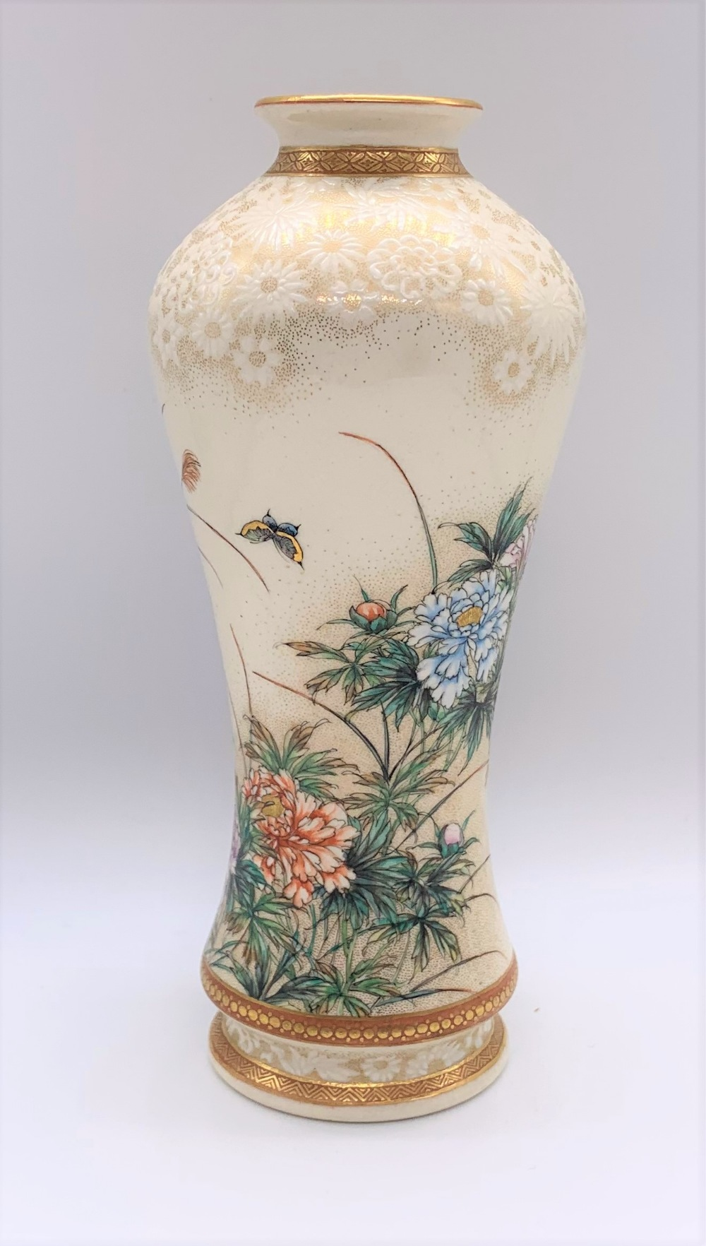 KINKOZAN; a good Japanese Meiji period Satsuma vase of waisted form decorated with butterflies