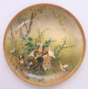 KINKOZAN; a good Japanese Meiji period Satsuma plate decorated with chickens beside a tree,