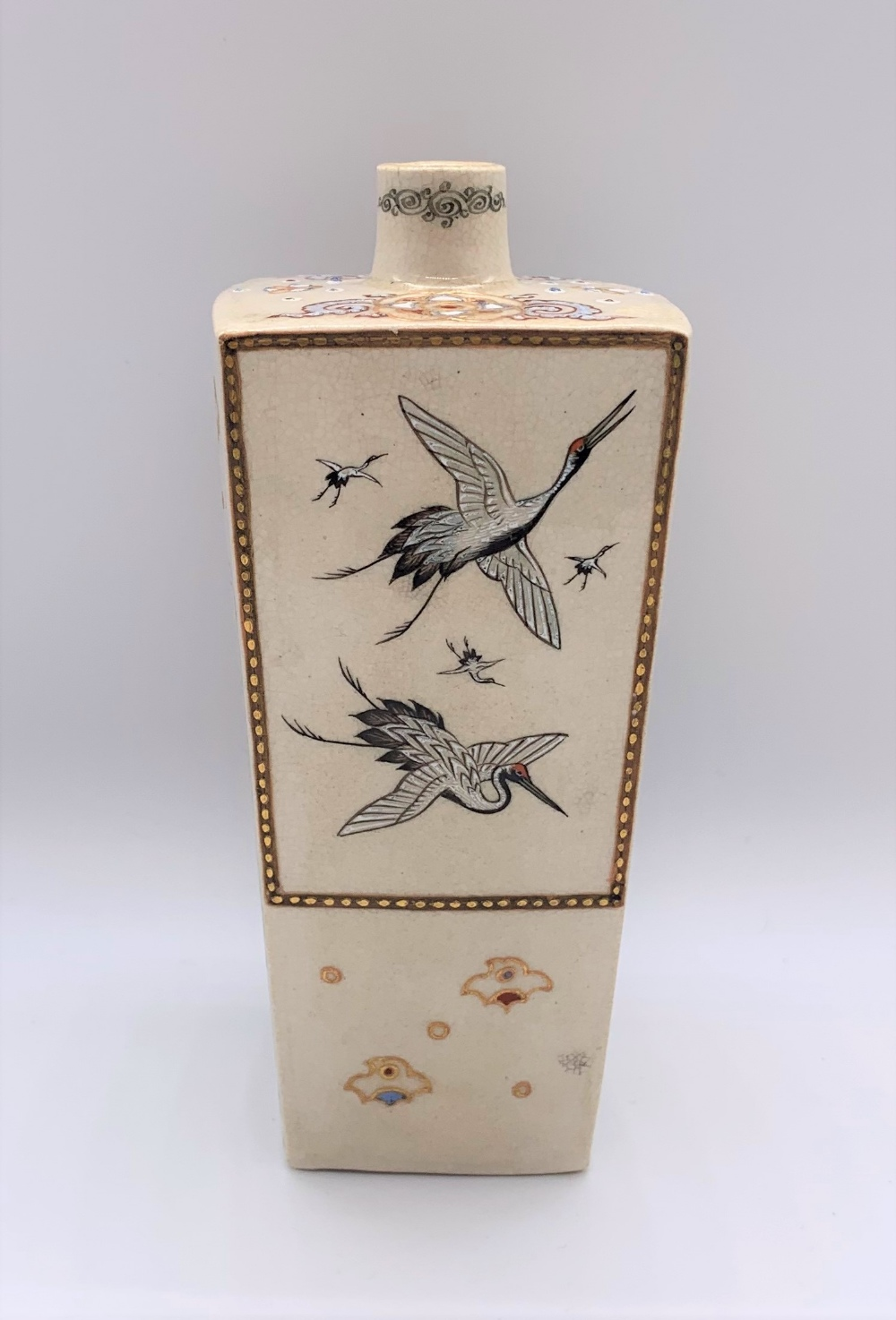 A Japanese Meiji period Satsuma tapering square section vase decorated with figures, butterflies, - Image 3 of 8