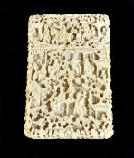 An early to mid-19th century Chinese Canton carved ivory card case with exquisite detail of