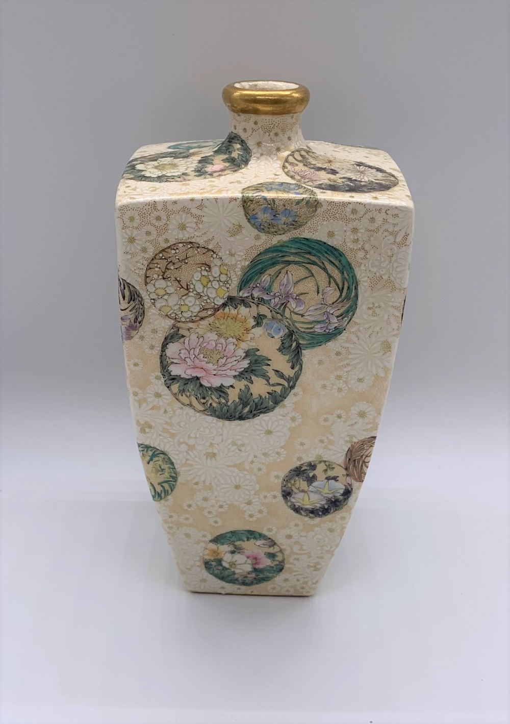 ATTRIBUTED TO KINKOZAN; a Japanese Meiji period Satsuma square sectioned vase decorated with - Image 2 of 8