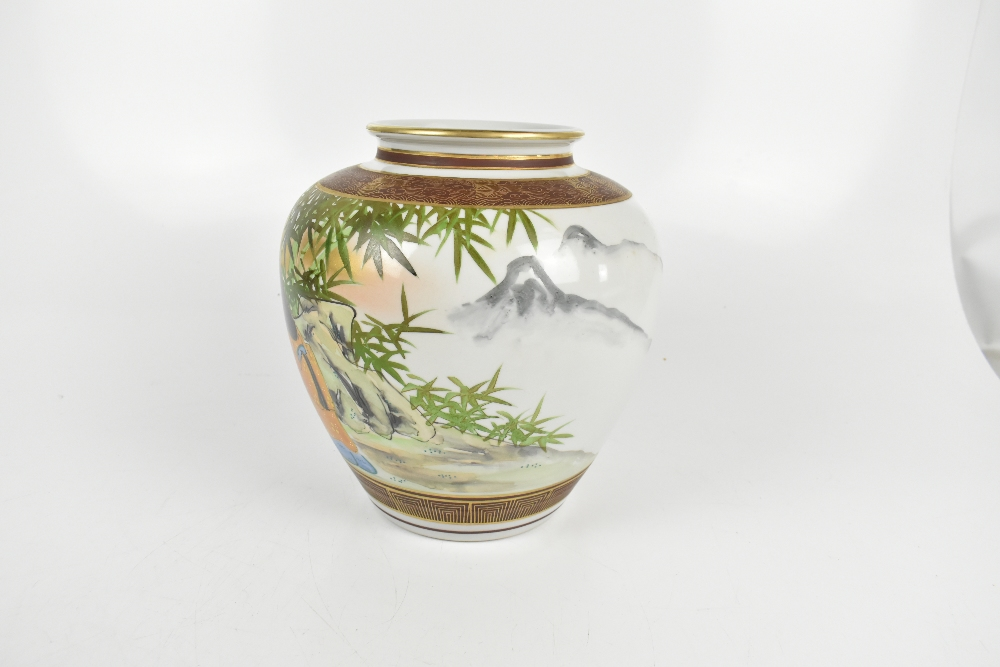 A large Japanese porcelain vase painted with scholars admiring a painting in bamboo grove setting, - Image 2 of 6