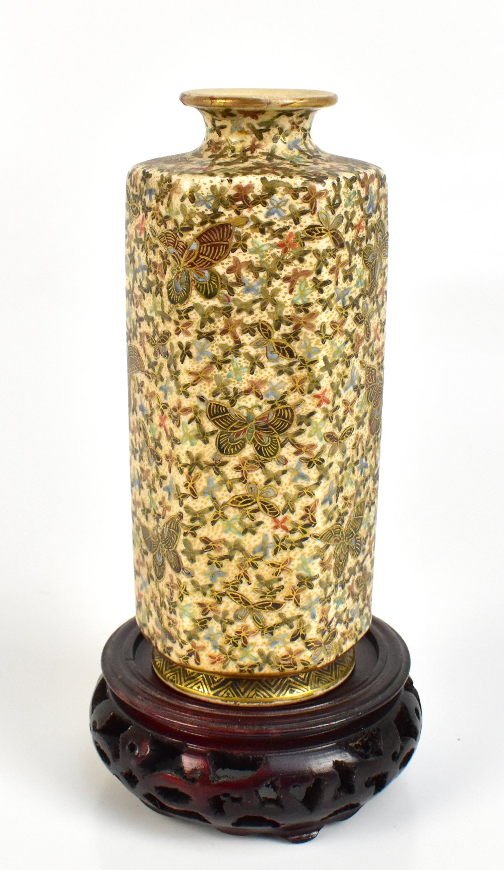 HODODA: a Meiji period Japanese Satsuma hexagonal vase painted with butterflies, with signature to