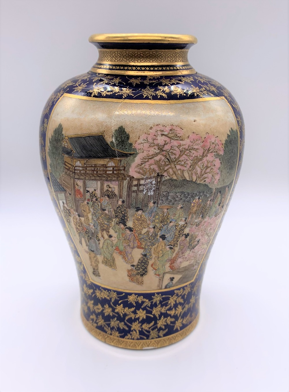 KEIZAN FOR KINKOZAN; a Japanese Meiji period Satsuma vase decorated with twin landscape panels - Image 4 of 7