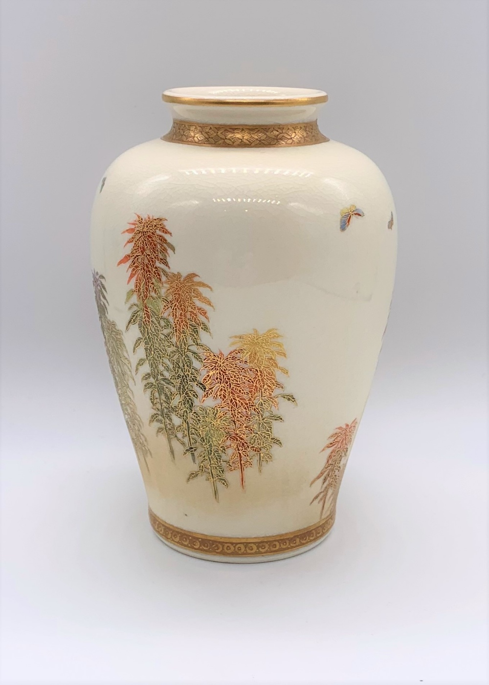 KINKOZAN; a Japanese Meiji period Satsuma vase of ovoid form decorated with butterflies above - Image 3 of 9