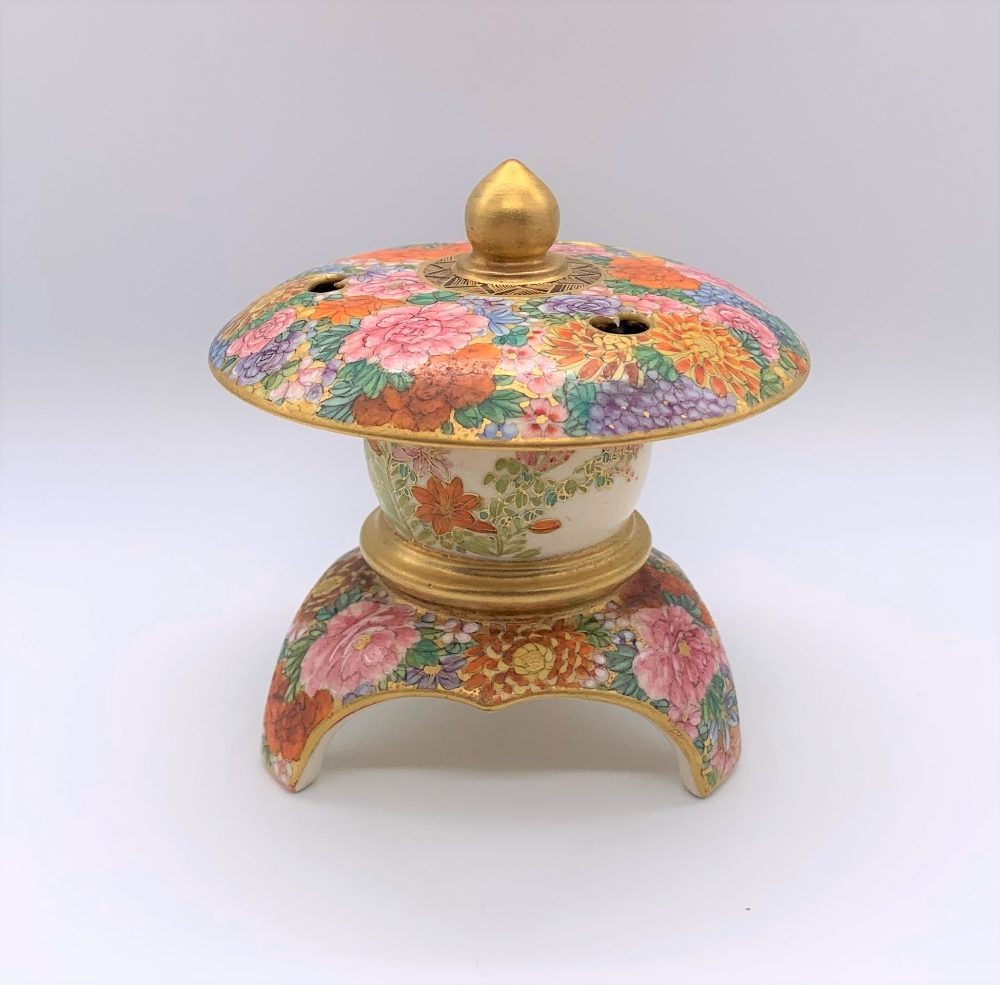 An unusual Japanese Meiji period Satsuma koro in the form of a finial with pierced upper bowl - Image 3 of 8