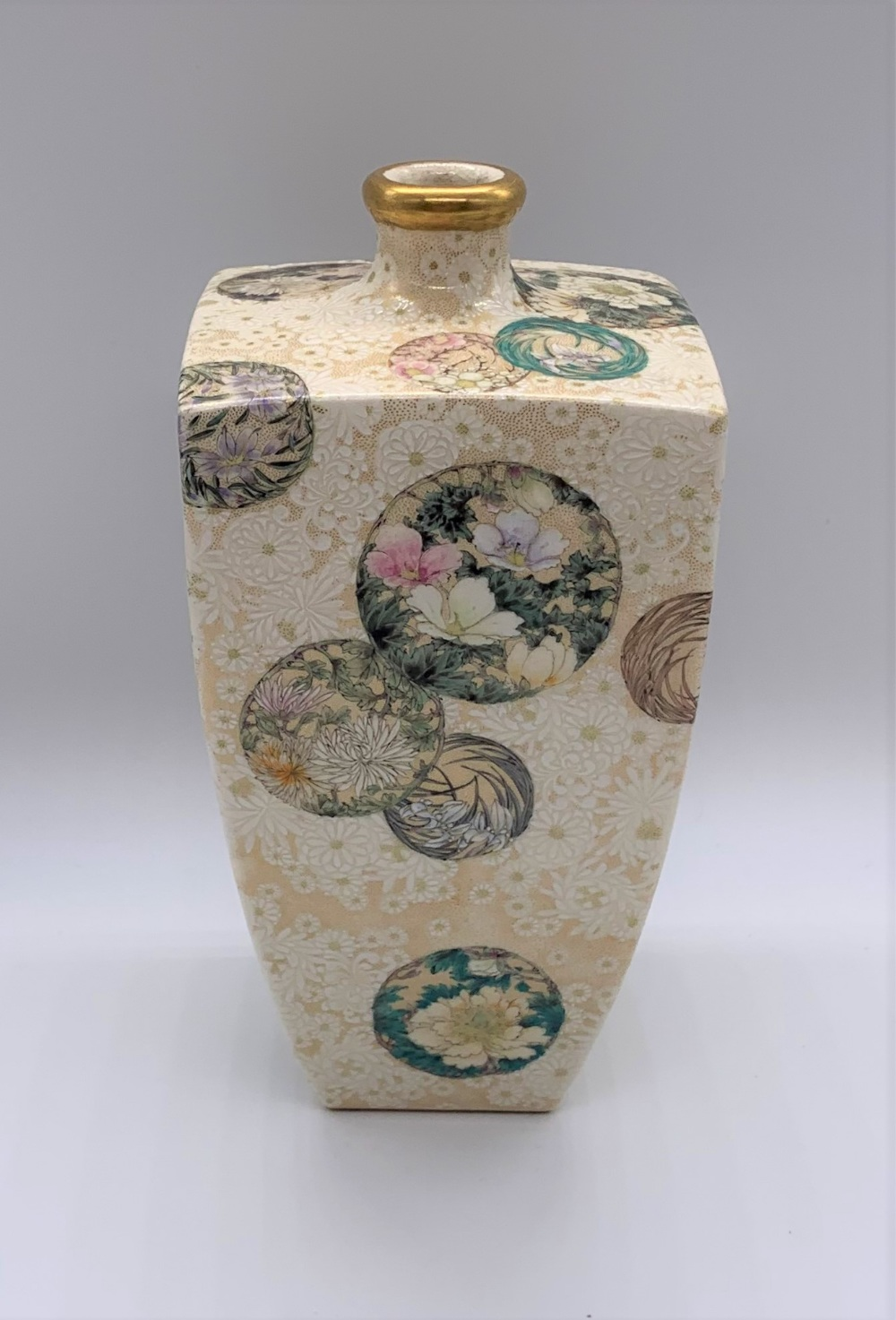 ATTRIBUTED TO KINKOZAN; a Japanese Meiji period Satsuma square sectioned vase decorated with - Image 4 of 8