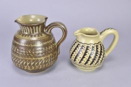 AGNETE HOY (1914-2000) for Bullers; a stoneware jug with sawtooth pattern, impressed marks, height