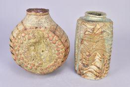 BERNARD ROOKE (born 1938); a flattened globular vase and a cylindrical vase both with deeply